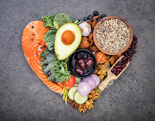 Heart shape of ketogenic low carbs diet concept. Ingredients for